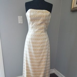 Jessica McClintock gold silver rhinestone dress